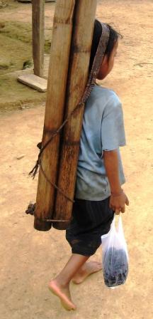 Mädchen bringt Wasser in Bambusrohren