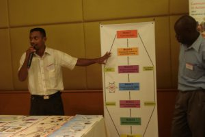 Cornelio (Head of Health Department at Timorese Red Cross) is presenting the Community Based Health Approach Model with the 7 different modules