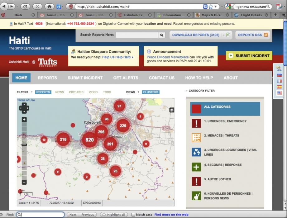 Beispiel einer Crowdsource Map der Organisation Ushahidi, die im Rahmen des Erdbebens auf Haiti 2010 angefertigt wurde.
