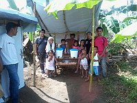 Hand washing facility at family shared Comfort Room in Camote, Dulag