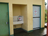 Fixed door and hand washing bucket at Canmogsay, Dulag