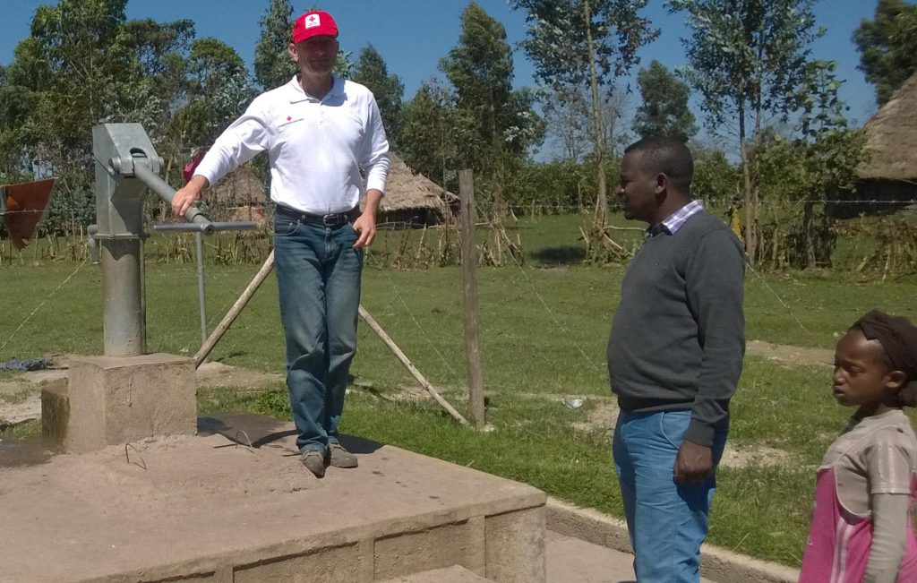 Aut RC Country Representative inspecting RC well in Kofele together with ERCS West Arsi Branch Head