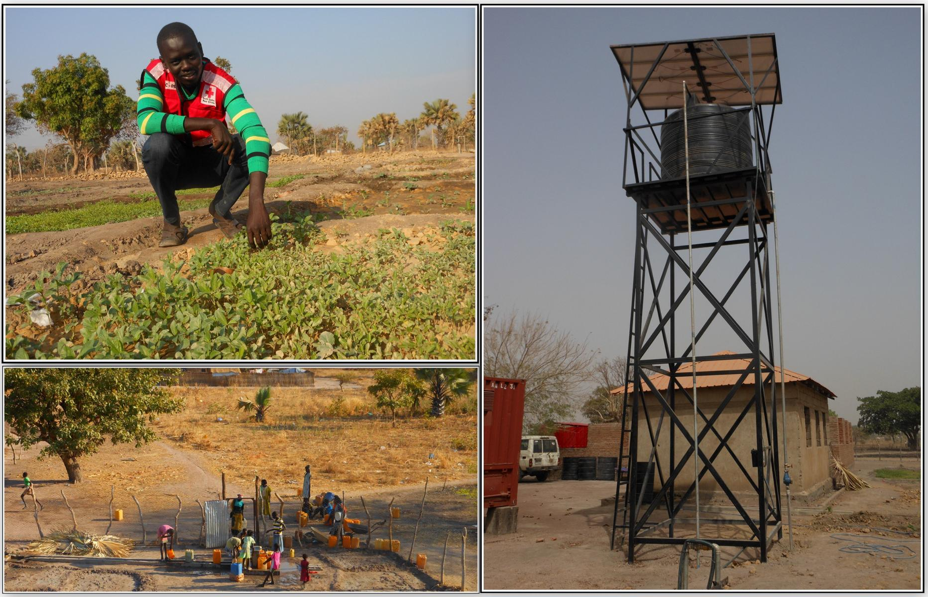 The solar water yard in the branch does not only provide water to the people around but also irrigates the volunteers garden