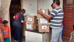 Verladung der Hilfsgüter zum Verteilort